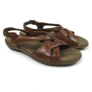 Earth Brown Leather Sandals Buckle Comfort Size 9